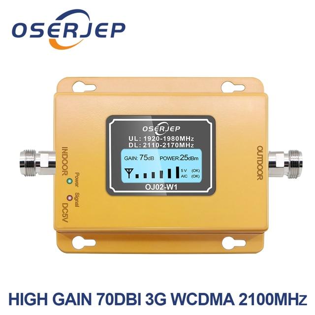 70db 3 グラム 2100 携帯電話 2100 900mhz のリピータ 2100 MHz 信号アンプ液晶ミニ 3 4G LTE WCDMA UMTS 含めないアンテナ