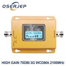 70db 3g 2100 טלפון סלולרי 2100 MHz מהדר 2100 MHz מגבר אות LCD מיני 3G LTE WCDMA UMTS לא כולל אנטנה