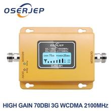 70db 3g 2100 휴대 전화 2100 mhz 리피터 2100 mhz 신호 증폭기 lcd 미니 3g lte wcdma umts 안테나를 포함하지 않음
