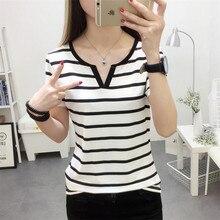 MRMT Stripes Womens T-Shirt V Collar T Shirts Skinny Half Sleeve Clothes Women Slim Under Wear Tshir