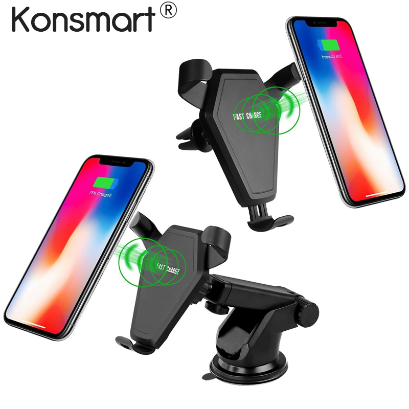 Konsmart Car Mount 7.5W/10W Fast Wireless Charging Car Holder for iPhone X 8 Plus Wireless Charger Stand for Samsung S9 S8 Note8