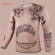 2016 Suicide Squad T-Shirt Joker Tattoos Costume Sublimation Long Sleeve T-Shirt Personalized Cosplay Joker T-shirt Halloween