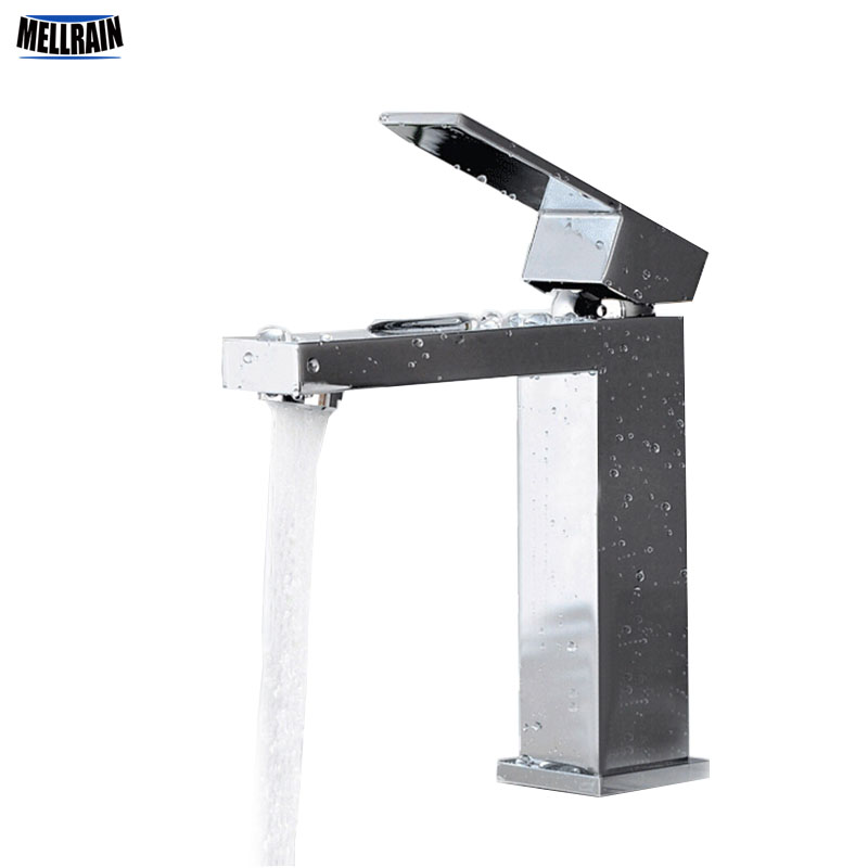 High quality brass casting bathroom faucet mirror chrome plated bathroom deck mounted Square faucet basin mixer free shipping free shipping high quality chrome finished brass in wall bathroom basin faucet brief sink faucet bf019