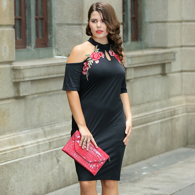 Black Cold Shoulder Dresses for Women Plus Size Embroidery Dress for ...