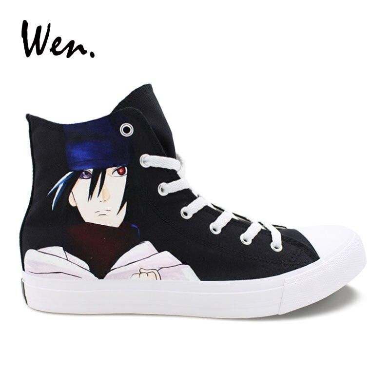 Wen Custom Design Uchiha Sasuke Hand Painted Canvas Shoes Black High Top Naruto Cosplay Shoes Sneakers Boys Girls Plimsolls naruto sakura haruno cosplay boots shoes mp001015