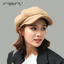 Boinas de lana visera gorra Octagonal gorra sombreros para las mujeres  artista pintor vendedor boina sombreros 678b4e6f95a