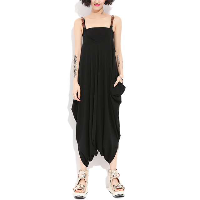 Fashion New Oversize Women Sleeveless Rompers Jumpsuit Lady Sexy Straps Backless Loose Long Playsuits Pockets Casual Overalls