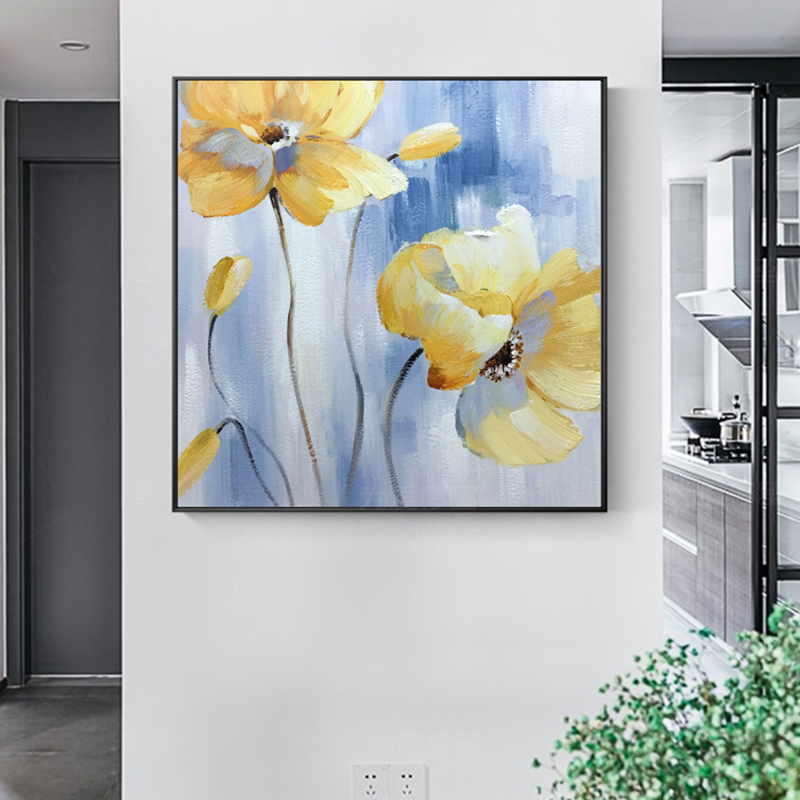 100 Hand Painted Abstract Golden Flowers Painting On Canvas Wall Art Wall Adornment Pictures Painting For Live Room Home Decor in Painting Calligraphy from Home Garden