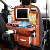 SEBTER Car Seat Back Bag Collapsible Car Stowing Tidying Storage Bag Protector Kicking Mat with Organizer for Ipad and Drink
