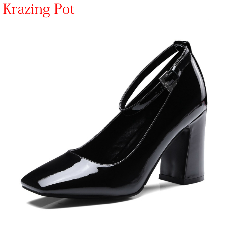 2018 Fashion Brand Luxury Summer Shoes Super High Heel Ankle Strap Square Toe Women Pumps Office Lady Shallow Wedding Shoes L94 5 colors ankle strap lady wedding shoes women red thick high heel pumps lady square toe black dress shoes size34 43