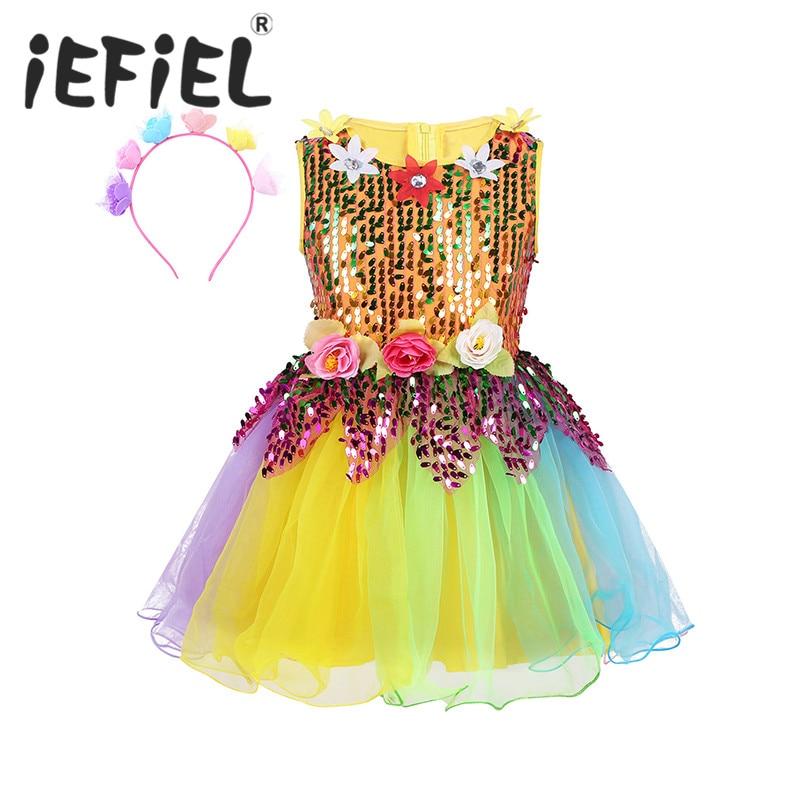 Girls Ballet Dancing Perform Dress Kid Sequins Ballet Costumes Children Kids Tutu Dance Girl Stage Dancewear Rainbow Tulle Dress
