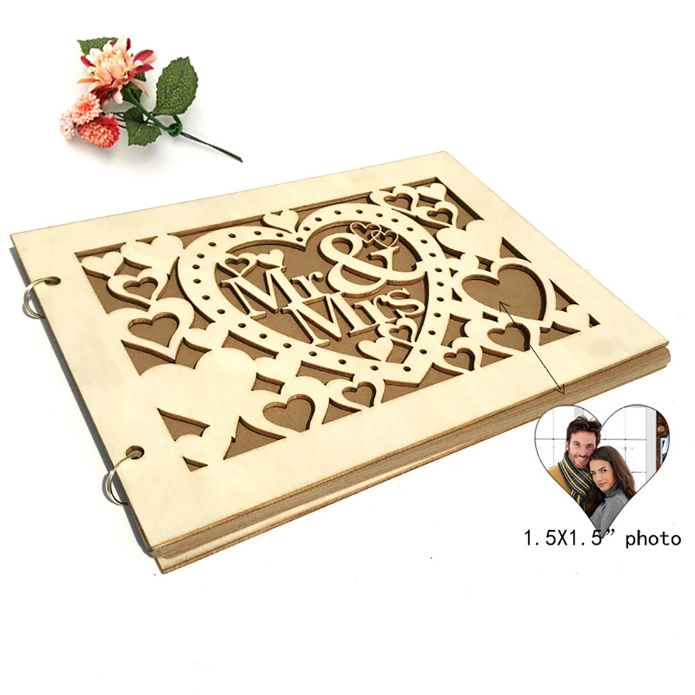 Photo Decoration Party Supplies Table MR MRS DIY Event Letters Wooden Signature Book Hollowed Gift 20 Pages Wedding Guest(China)