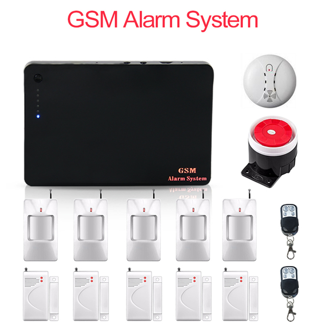 315/433 MHz Wireless GSM Alarm Systems Security Home security IOS Android APP Smart Burglar GSM Alarm System with PIR detector
