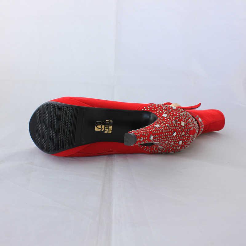 Nubuk deri ayakkabı moda metal toka ayakkabı kadın botları kristal yüksek topuklu platformu bayan ayakkabıları topuklu kısa çizmeler