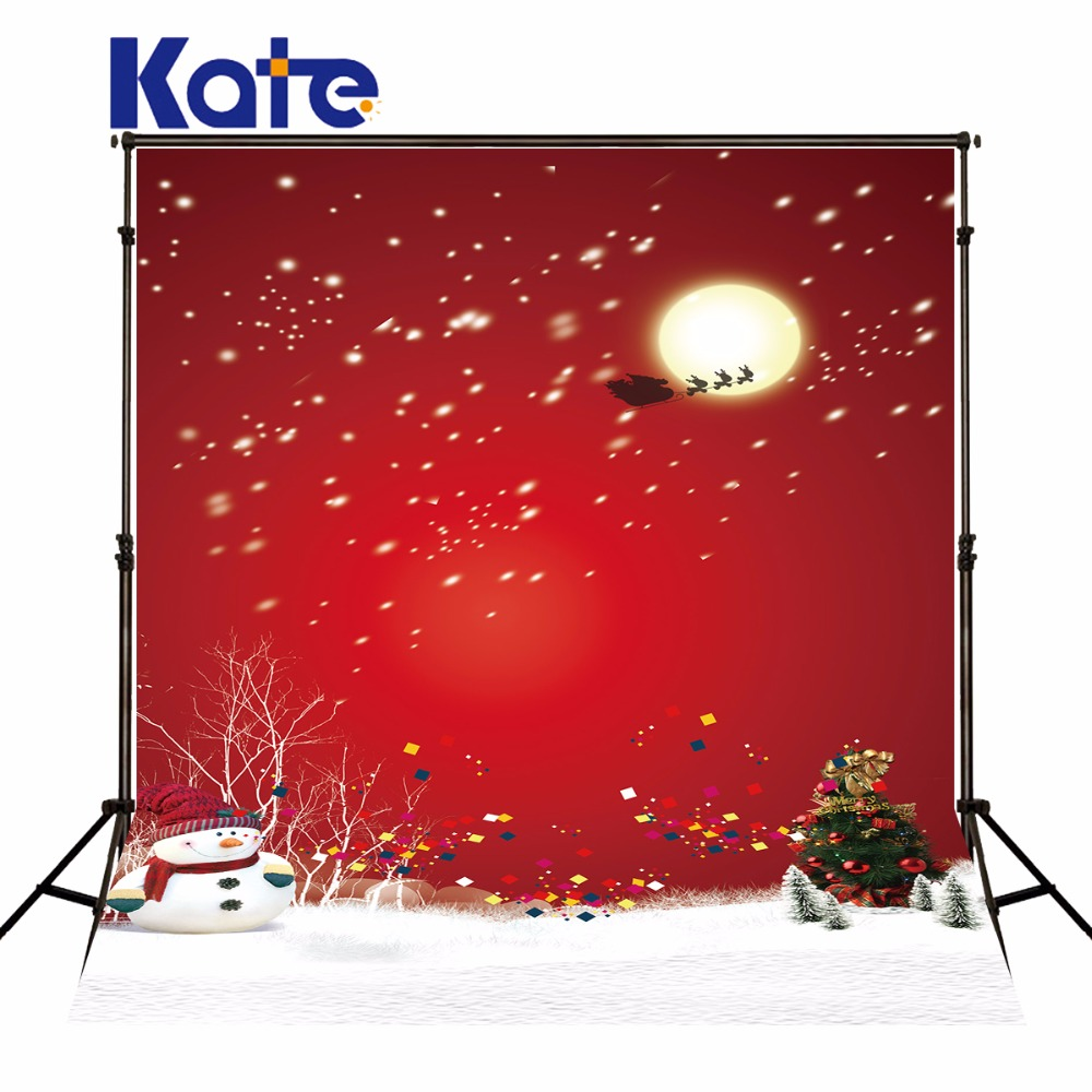 Kate Red Customize Christmas Photo Backdrops Christmas Tree Camera Fotografica Snowman Photocall Backgrounds for Photo Studio