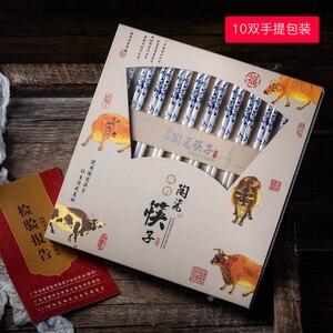 Image 3 - 10 pairs / set Chinas environmental protection bone china blue and white design ceramic chopsticks