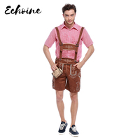 Echoine Adult Male Traditional Oktoberfest Costume Lederhosen Bavarian Octoberfest German Beer Men's Halloween Costume