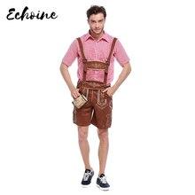 Echoine adulto masculino tradicional oktoberfest traje lederhosen bávaro octoberfest alemão cerveja masculino traje de halloween