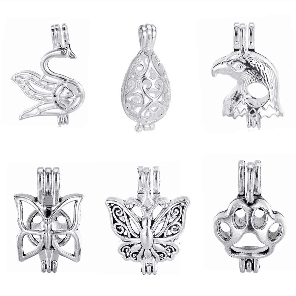 1pc Pearl Cage Mermaid Vintage Filigree Diffuser Locket Pendants For DIY Jewelry Aromatherapy Essential Oil Diffuser Necklace