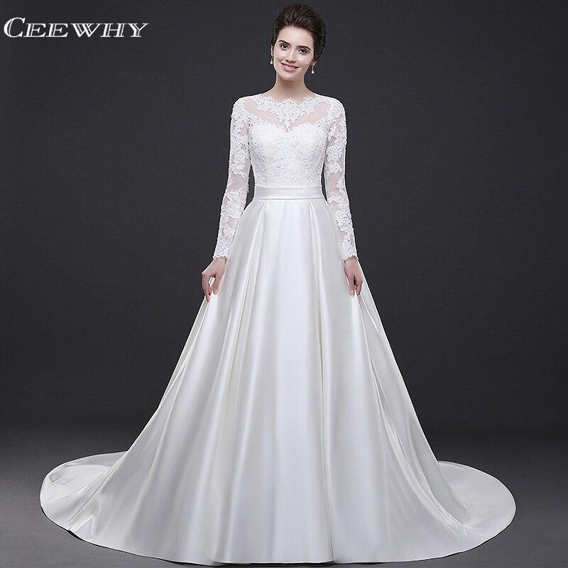 CEEWHY Robe de soirée blanche à manches longues robes de soirée en dentelle dos ouvert robes de bal 2019 Robe de soirée en Satin Robe de soirée