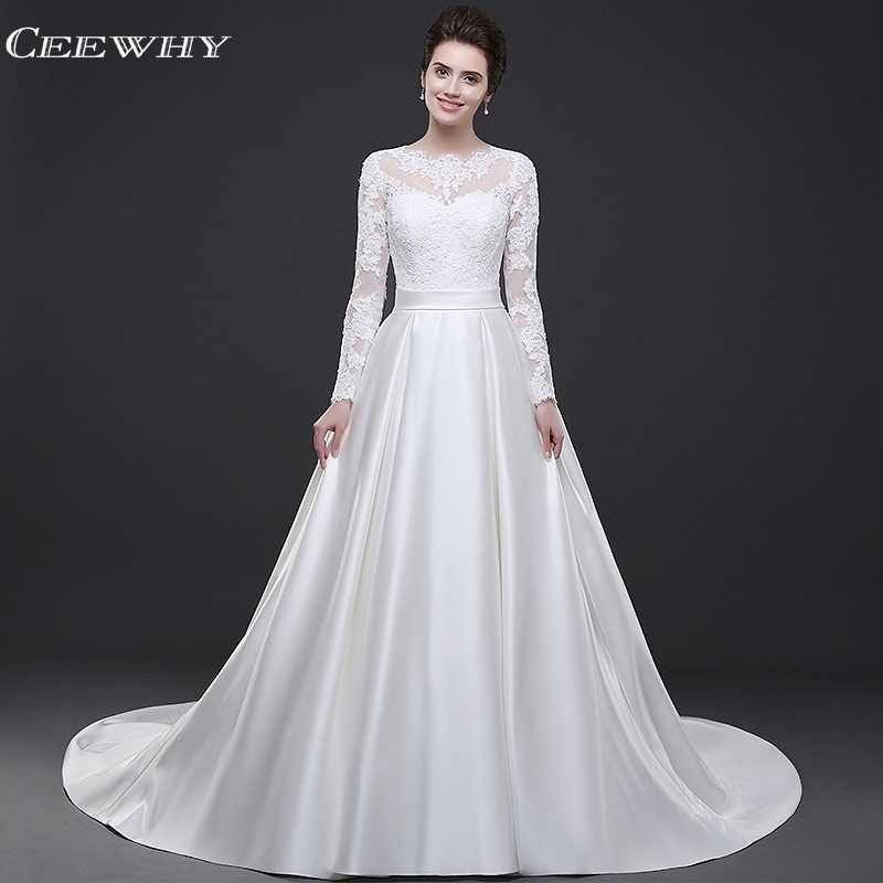 4ccb7e3db3c White Gold Ball Gown Satin Formal Evening Gowns 2018 White Satin Evening  Gowns  CEEWHY White Evening Dress Long Sleeve Lace Evening