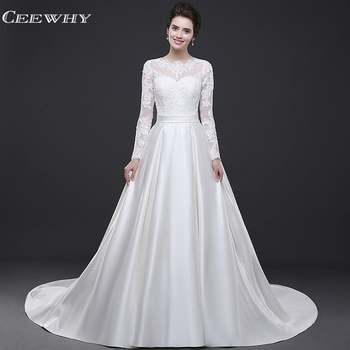 CEEWHY White Evening Dress Long Sleeve Lace Evening Dresses Open Back Prom Dresses 2019 Satin Evening Gown Robe de Soiree