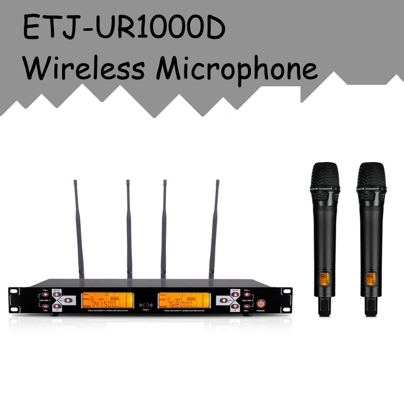 ETJ Brand Professional UHF Wireless Mic True Diversity Stage Performance Wireless Microphone System UR1000D hot sale top quality true diversity system 2 antenna for stage em2050 skm 9000 skm9000 wireless microphone system 2 performan