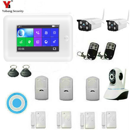Yobang Security 433MHz Alexa Wireless GSM WIFI DIY Smart Home Security Alarm Systems Kit Outdoor Video IP Camera APP Control