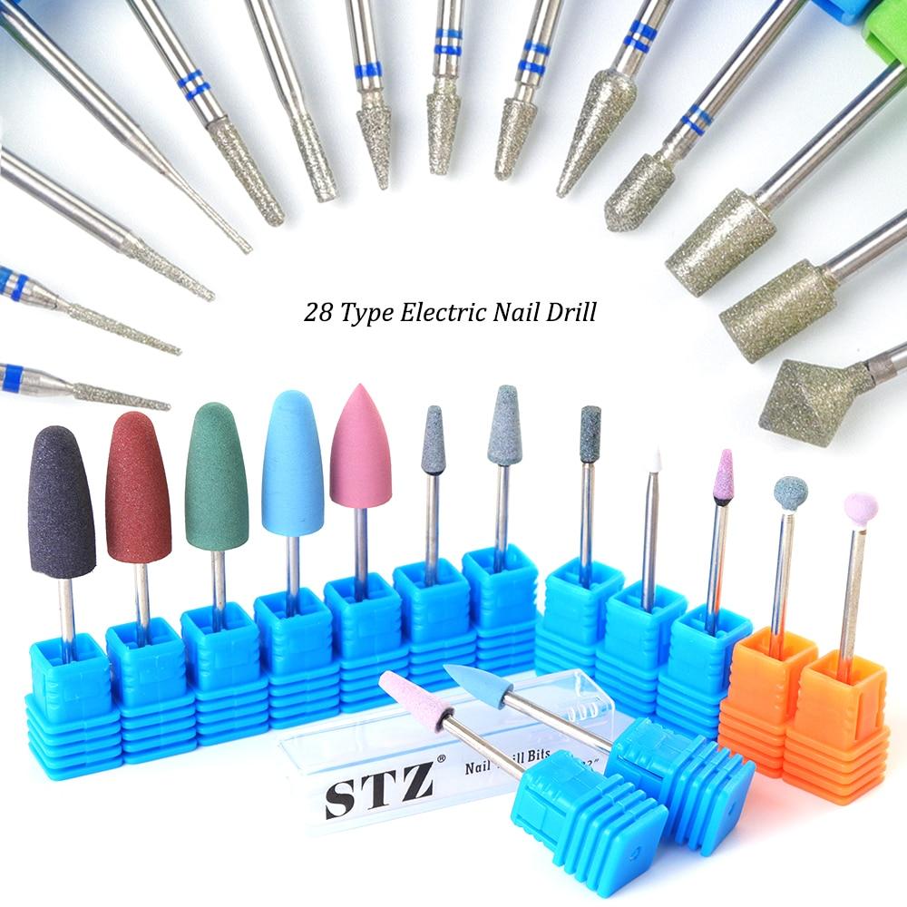 28 Type Drill Drill Bits Electric Manicure Rubber Silicone Ceramic Diamond Milling Cutter Polishing Pedicure Nai Files TR065/056