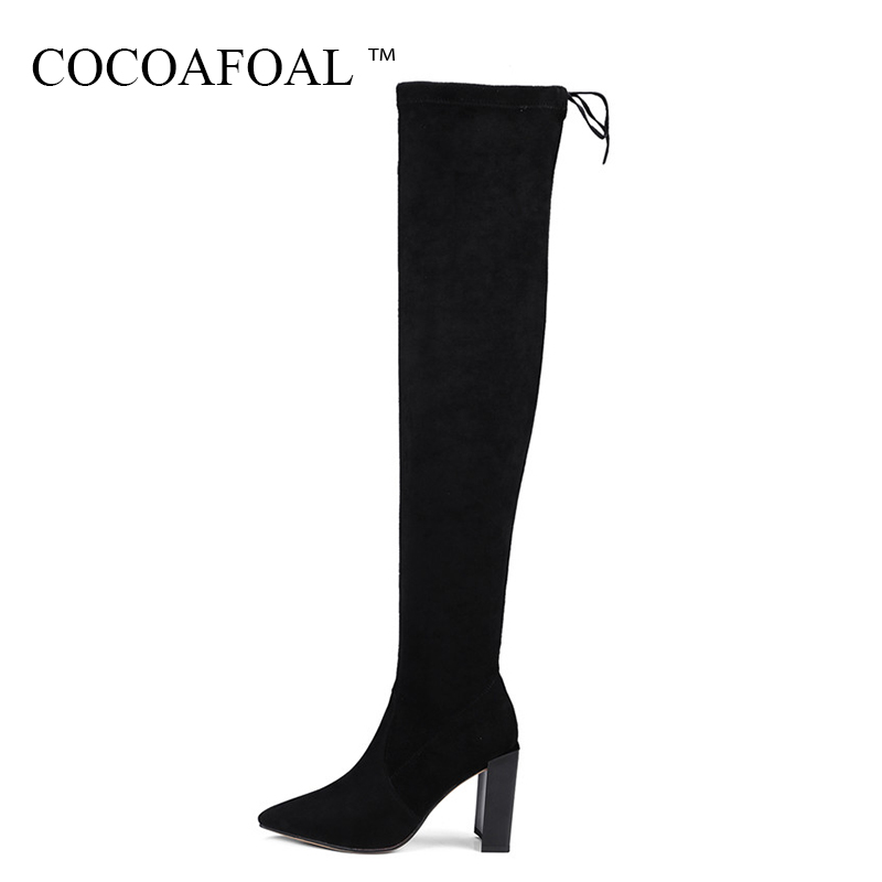 COCOAFOAL Genuine Leather Thigh Lace Up High Boots Women Black High Heeled Boots Winter Fashion Pointed Toe Over The Knee Boots 2016 lace appliques baby boys girls infant outfit heriloom dress dedication baptism gown long christening gowns with bonnet