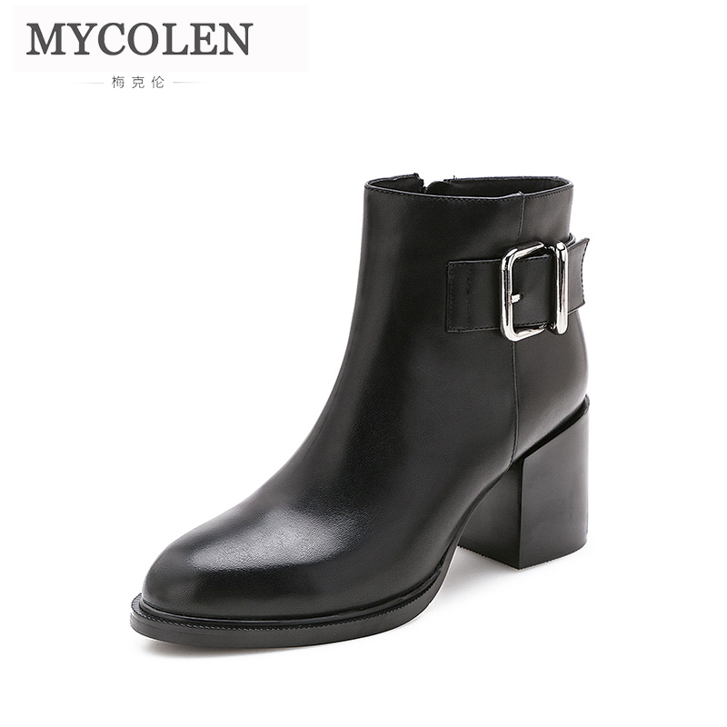 MYCOLEN 2018 Women Boots Genuine Leather Round Toe Comfort Chelsea Boots High Heel Leather Shoes Autumn Winter For Women