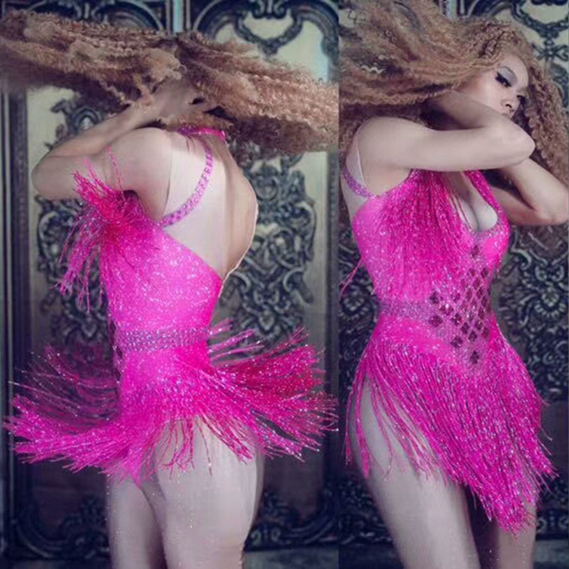 6 Colors Sparkly Rhinestone Tassel Bodysuit Nightclub Dance DS Show Stage Wear Stretch Party Outfit Female Singer Dancer Costume