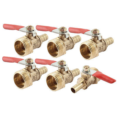1/2 PT Male Thread to 8mm Barbed Hose Tail Lever Handle Brass Ball Valve 6pcs 1 2 thread to hose tail 1 4 air control ball valve zmm
