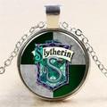 Классический Гарри Поттер Зеленая Змея Слизерина Знак Магия 3 цветов Время Стекло Драгоценные Камни Ожерелье Друзья Рождественские Подарки NN026