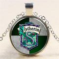 Classic Harry Potter Green Snake Slytherin Badge Magic 3colors Glass Time Gems Necklace Pendant Friends Christmas Gifts NN026
