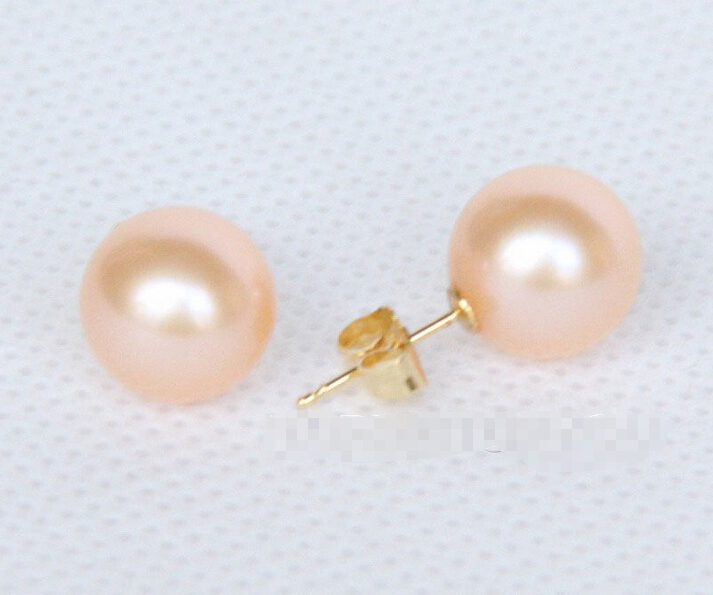 AAA++ 10mm perfect round pink pearls Earrings 14KGP solid gold Stud <font><b>E2620</b></font> image