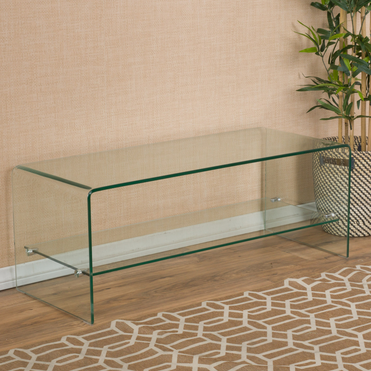 Classon Glass Entertainment TV Console Stand w/ Shelf