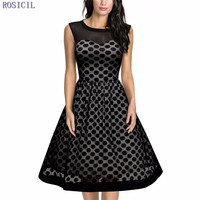 ROSICIL New Women Casual Dress Dot Vintage Dress With Sleeveless Open Back Zipper Ball Gown Party