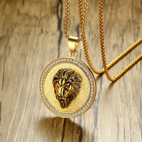 Punk Rocked Hip Hop Iced Out Stainless Steel Lion S Head Pendant Necklace For Men Vintage