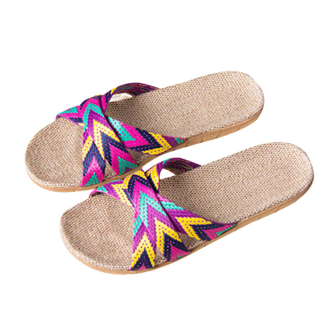 SIKETU נשים כפכפים קיץ שטוח כפכפים סנדלי בנות נשים גברים אנטי להחליק פשתן בית נעלי פתוח הבוהן פשתן חוף נעלי A30