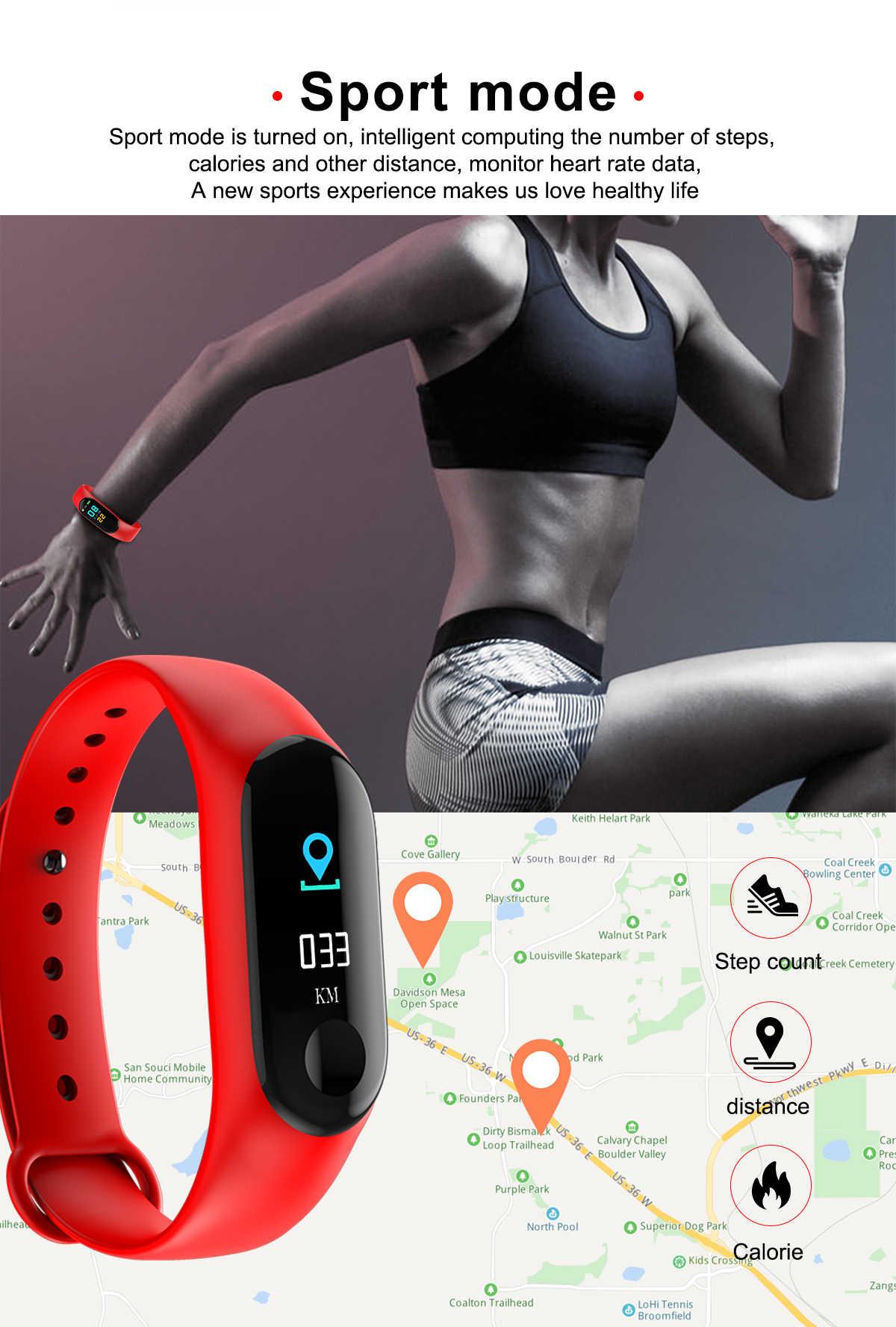 ぬるぬる M3 スマート腕時計カラー画面フィットネストラッカー血圧心拍数モニタースマートウォッチ歩数計アンドロイド Ios 電話