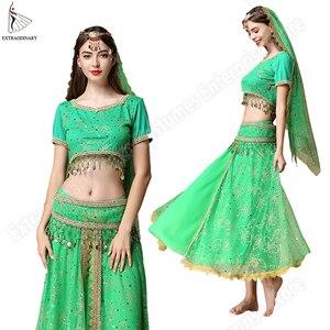 Image 3 - Bollywood Costume di Danza Del Ventre Costume Set Danza Indiana Sari danza del Ventre Vestito di Pannello Esterno Chiffon Delle Donne 5pcs (Copricapo Velo Top Cinghia Della Cinghia pannello esterno)