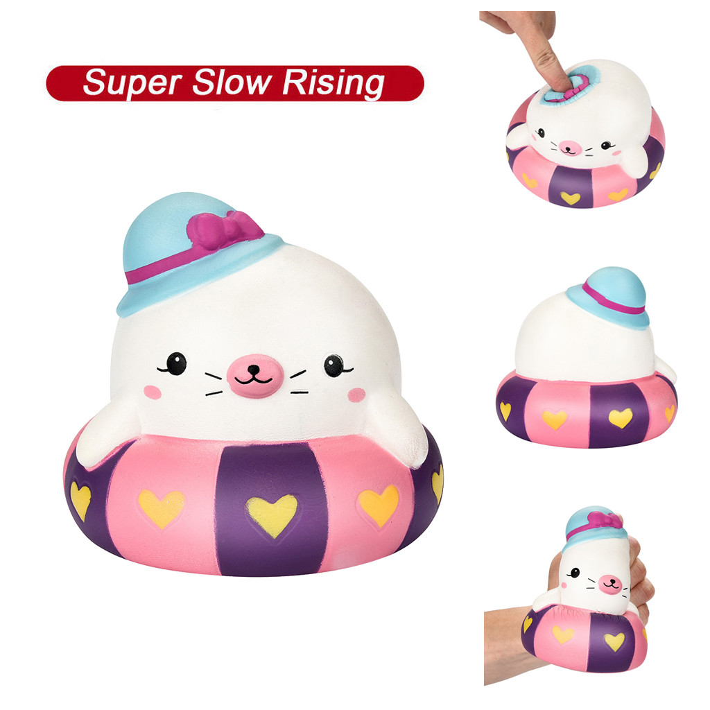 Mini Adorable Swim Ring Seal Super Slow Rising Toy Kids Gift Stress Reliever Soft Squeeze Toy Squishies антистресс