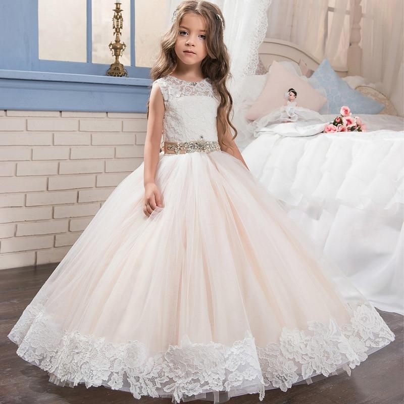 Baby Children Clothing Dress Lace Belt Drill Sleeveless Champagne Color Fluffy Flower Kids Girl Elegant Wedding Dress GDR401 elegant jewel neck solid color lace up sleeveless dress for women