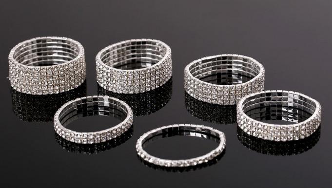 (30 pcs/lot) Fashion Bracelets & Bangles 1 / 2 / 3 / 4 / 5 row Crystal Tennis Bracelets Free Shipping