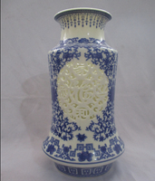 Collect H:11 inch Chinese Blue and White Porcelain Vase/Classic Jingdezhen Ceramic tabletop Vase V0006