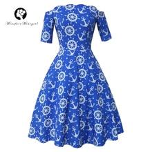 Autumn Blue Dress Elegant Vintage Retro Print 1950s Party Dress Women 2017 Casual Club Pin Up Feminino Dress Vestido Rockabilly