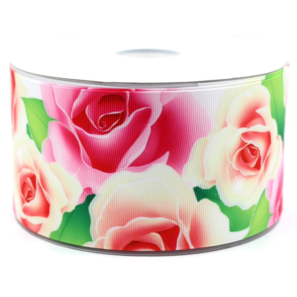 Flower Ribbon 3 75mm Beautiful Rose Printed Grosgrain Ribbon DIY Handmade Clothing Webbing 50 Yards MD160414