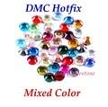 DMC смешанный цвет SS6 SS10 SS16 SS20 SS30 смешанный размер стеклянные кристаллы исправление горный хрусталь железо-на Стразы DIY Одежда с клеем - фото