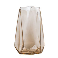 Geometry theme Amber color glass vase home decoration flower pot floor vase wedding decoration flower vase